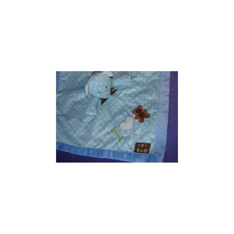 Blankets and Beyond I Love Bears Nunu   Blue with Brown Polka Dot   Lovey Security Blanket