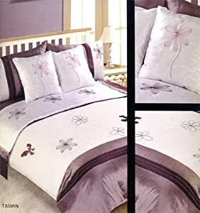 Matching Bedrooms 6PC Tasmin Bed In a Bag Mauve/ Cream King Duvet Set With Matching Pillowcases And Cushion Covers