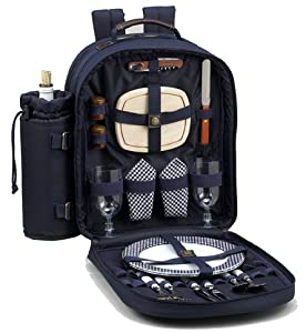 Picnic at Ascot Classic Picnic Backpack for 2, Navy by Picnic at Ascot