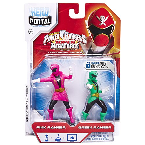 Jakks Pacific, Hero Portal, Saban's Power Rangers Super Megaforce Booster Pack, Pink Ranger and Green Ranger - 1