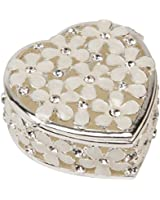 Sophia Heart Shape Trinket Box with Cream Flowers and Crystals