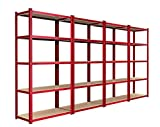 Panana 3 x 1.8m Shelf Warehouse 5 Tier Racking Shelf Heavy Duty Steel Garage Shelving Unit 280kgs Per Bay180x90x45cm Red