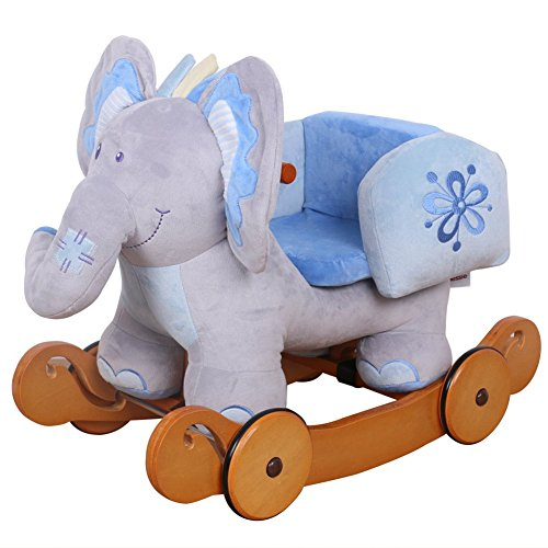 Hessie Baby Rocking Elephant With Wheels- Blue front-200306