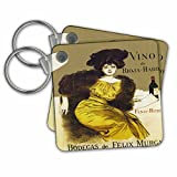kc_181099 Florene - Art Deco And Art Nouveau - Image of nouveau spanish wine ad with lady dressed in furs - Key Chains