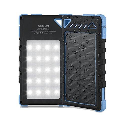Aedon モバイルバッテリー 大容量10000mAh 20個LED付き ソーラーチャージャー 軽量.携帯便利 iphone.Samsug.Sony.HTCなど充電できる (黒色+青)