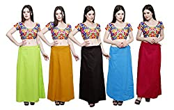 Pistaa combo of Women's Pure Cotton Parrot Green, Mustard, Coca Cola, Turquoise Blue and Rani Pink Color Best Indian Solid Ethinic Casual Inskirt Saree petticoats