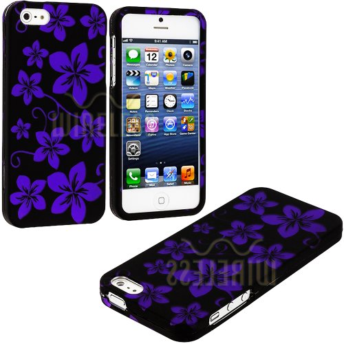 Mylife (Tm) Purple + Black Tropical Flowers Series (2 Piece Snap On) Hardshell Plates Case For The Iphone 5/5S (5G) 5Th Generation Touch Phone (Clip Fitted Front And Back Solid Cover Case + Rubberized Tough Armor Skin + Lifetime Warranty + Sealed Inside M
