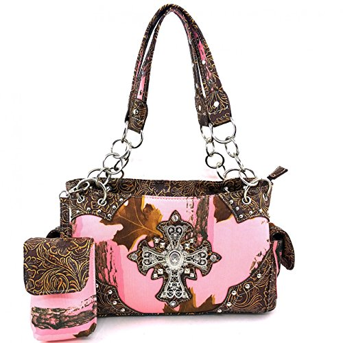2015 New Style Rhinestone Buckle Concho Concealed Carry Cross Camouflage Leather Shoulder Handbag Purse and Optional Messenger Bag, Wallet in 3 Colors. Brown (kW04 Brown Handbag)
