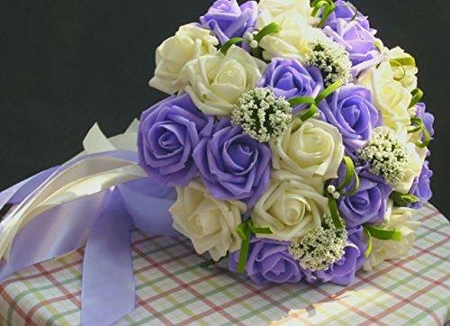 ウェディング ブーケ バラ 造花 ブライダル 結婚式 花束 フラワー 髪飾り セット (ホワイト×パープル)