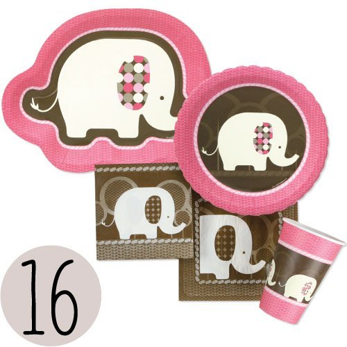 Pink Elephant -  Party Tableware Plates, Cups, Napkins - Bundle for 16