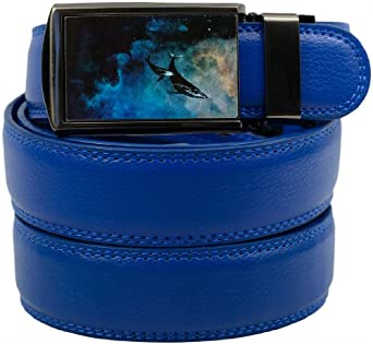 SlideBelts Boy's Leather Ratchet Belt (Blue Leather with Space Whales Buckle)