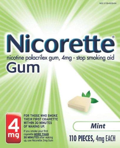 Nicorette Nicotine Polacrilex Gum 4Mg, Stop Smoking Starter Kit, Mint - 108 Ea