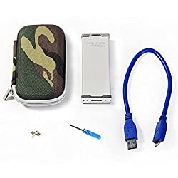 Fenvi mSATA (mini PCI-E) SSD to USB3.0 External Drive Converter Adapter Caddy Case with Cable for Laptop Desktop PC