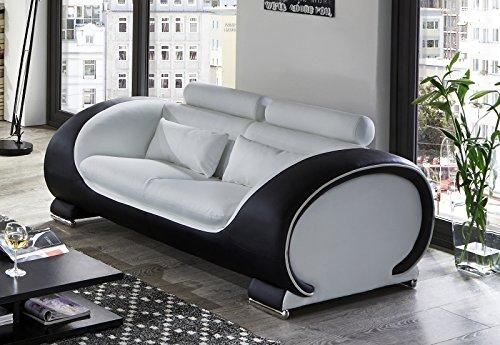 SAM-Design-Couch-Sofa-Vigo-2-Sitzer-151-cm-Lnge-in-wei-schwarz-mit-bequemen-verstellbaren-Kopfsttzen-Polstercouch-mit-Samolux-Bezug-mit-edlen-chromfarbenen-Fen