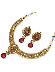 Elegant Elements Ethnic N Elegant Zircon Colored Stone Necklace Set For Women EEN19