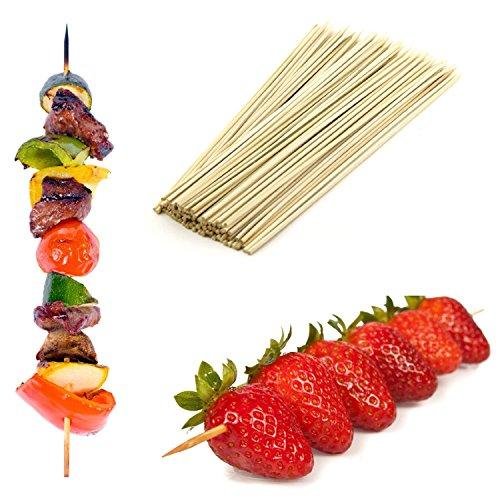 Lot de 500 brochettes à apéritif en bambou 25 cm-Idéal pour les barbecues, brochettes, fruits, fontaines &les Fondues au chocolat