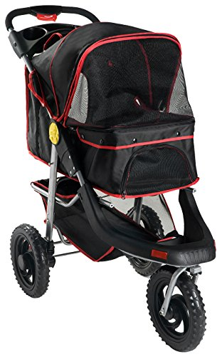 Merax One Hand Collapse Three Wheels Folding Pet Dog Cat Stroller Travel Carrier Light Weight Multifuction Stroller (Black)