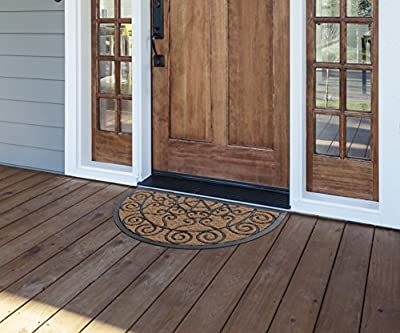 MILLIARD Decorative Swirl Coco Fiber Half Round Durable Outdoor Entrance Doormat - 18in.x30in.