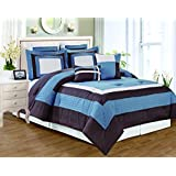 RT Designers Collection Landon 8 Piece Pieced Comforter Set, King, Blue