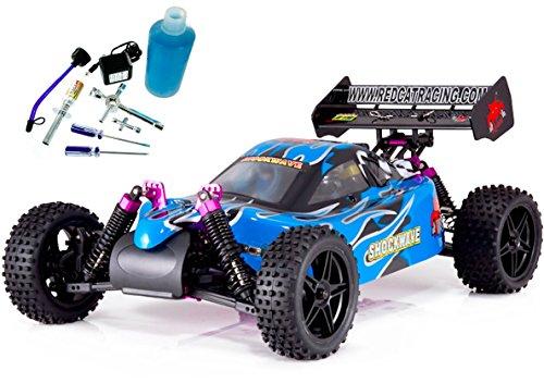 Redcat Racing Shockwave Nitro Buggy, Blue, 1/10 Scale – PLUS – Redcat Racing 80142A Nitro R/C Starter Kit – Bundle of 2 Items.
