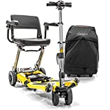 Luggie Travel Mobility Folding Scooter with Suitcase, Armrests & Bag - Champagne color