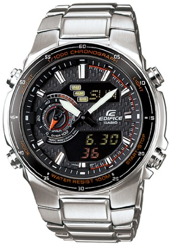 Casio Men's EFA131D-1A4V Silver Stainless-Steel Quartz Watch with Black Dial