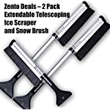 Zento Deals - 2 Pack Extendable Telescoping Ice Scraper and Snow Brush - Extends from 17