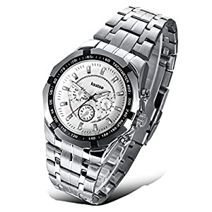 Efloral Simple Stainless Analog Accurate Time Gift Men Quartz Wrist Boy Watch
