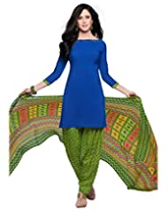 Inddus Women Blue & Green Crepe Unstitched Dress Material