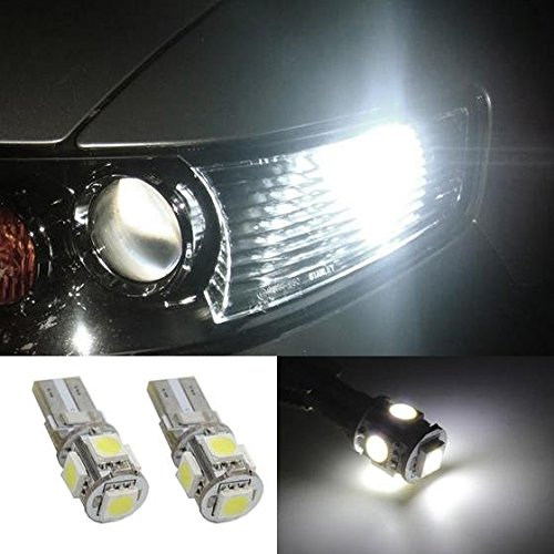 Partsam 2pcs W5W 168 2825 White 5-5050-SMD Car Led Parking lamp Eyelid LED Bulbs Driving lights (2002 Ford Escape Lid compare prices)