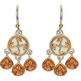 22k Gold Overlay Sterling Silver Citrine Dangle Earrings by Michou from amazon.com