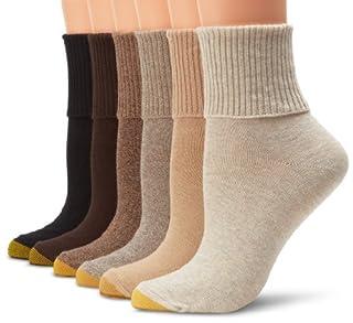 Gold Toe Women's 6 Pack Turn Cuff,Oatmeal/Khaki/Bark/Brown/Coffee/Black,9-11