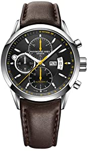 Raymond Weil Freelancer Black Dial Stainless Steel Brown Leather Mens Watch 7730-STC-20021