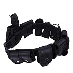 Imported Police Guard Tactical Belt Buckles Black 9 Pouches Utility Security System