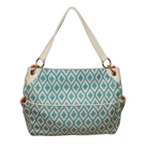 Caught Ya Lookin' Chic Diaper Bag, Aqua and White Triangles