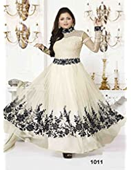 Fabboom New Off White Net Anarkali Suit