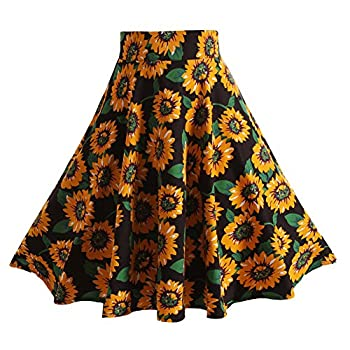 Fancyqube(TM) Women Pleated Vintage Skirts Floral Print Midi Skirt