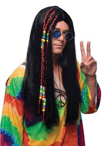 Long Hair Black Hippie Wig Costume Accessory