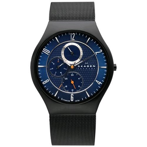 Skagen Denmark Mens Watch Black & Blue Multifunction #806XLTBN