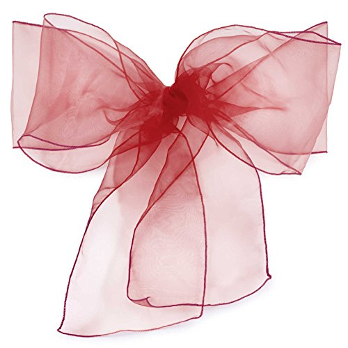 Lann's Linens Organza Chair Sashes / Bows - for Wedding or Banquet - Burgundy - 10pcs