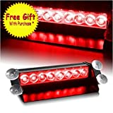 DIYAH 8 LED Warning Caution Car Van Truck Emergency Strobe Light Lamp For Interior Roof Dash Windshield (Red)