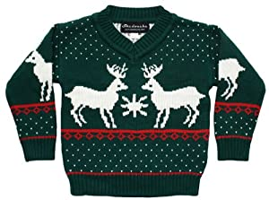 Ugly Christmas Sweater - Children's Reindeer Games Holiday Sweater in Green