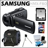 Samsung HMX-F80 HD Camcorder with 52x Optical Zoom and 2.7-inch LCD in Black + 8GB Secure Digital Memory Card + Accessory Kit