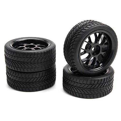 SkyQ 1:10 RC On-road Car Leaf Shape Rubber Tires and Plastic Wheel Rims Black(Pack of 4)