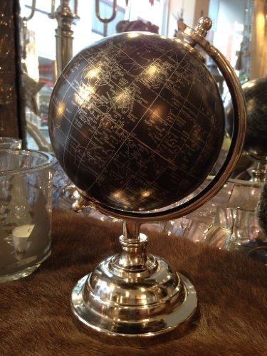 Globus Weltkugel Tischglobus Metall Silber schwarz Deko !! B-Ware !!!