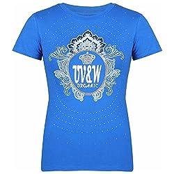 UV&W Women's Printed T-Shirt (LS36_S, Blue, S)