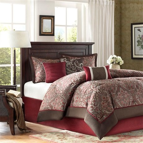 Brown And Red Bedding 1495 front