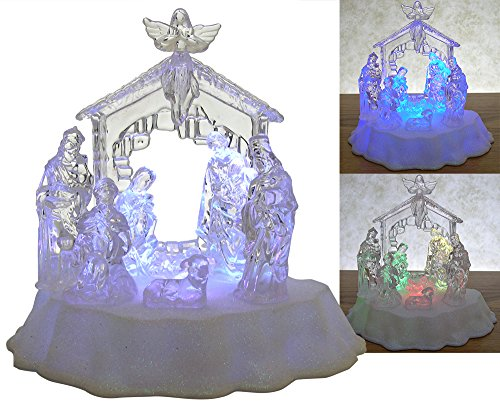 Angel with nativity scene figurine reviews - Table a manger led ...
