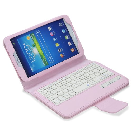 Newstyle Samsung Galaxy Tab 3 8.0 Keyboard Case - Wireless Bluetooth Keyboard Cover Case For Samsung Galaxy Tab 3 8.0 Inch Android Tablet - Pink front-216546