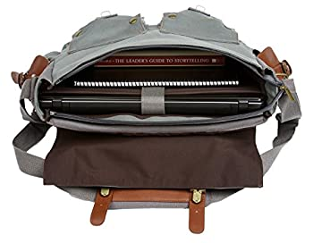 """Observ Classic Laptop Messenger Bag, Gray - Large Canvas Pack for Laptops 13"""", 14"""" and up to 15.6 Inches 2"""